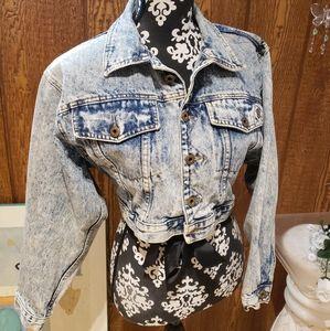 Vintage acid wash crop jean jacket